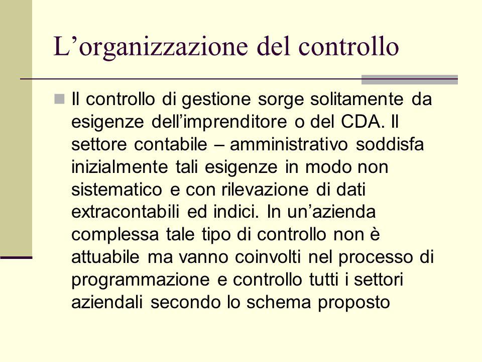 Lorganizzazione del controllo Il controllo di gestione sorge solitamente da esigenze dellimprenditore o del CDA.