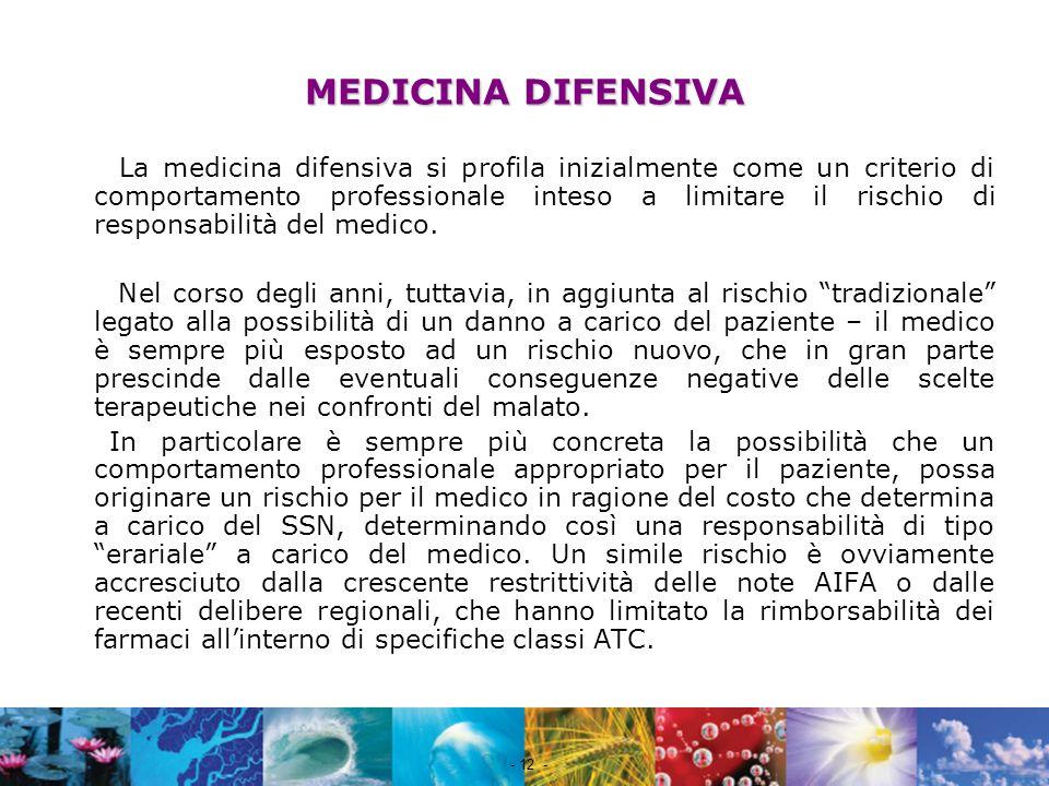 Nome file - 12 - La medicina difensiva si profila inizialmente come un criterio di comportamento professionale inteso a limitare il rischio di respons