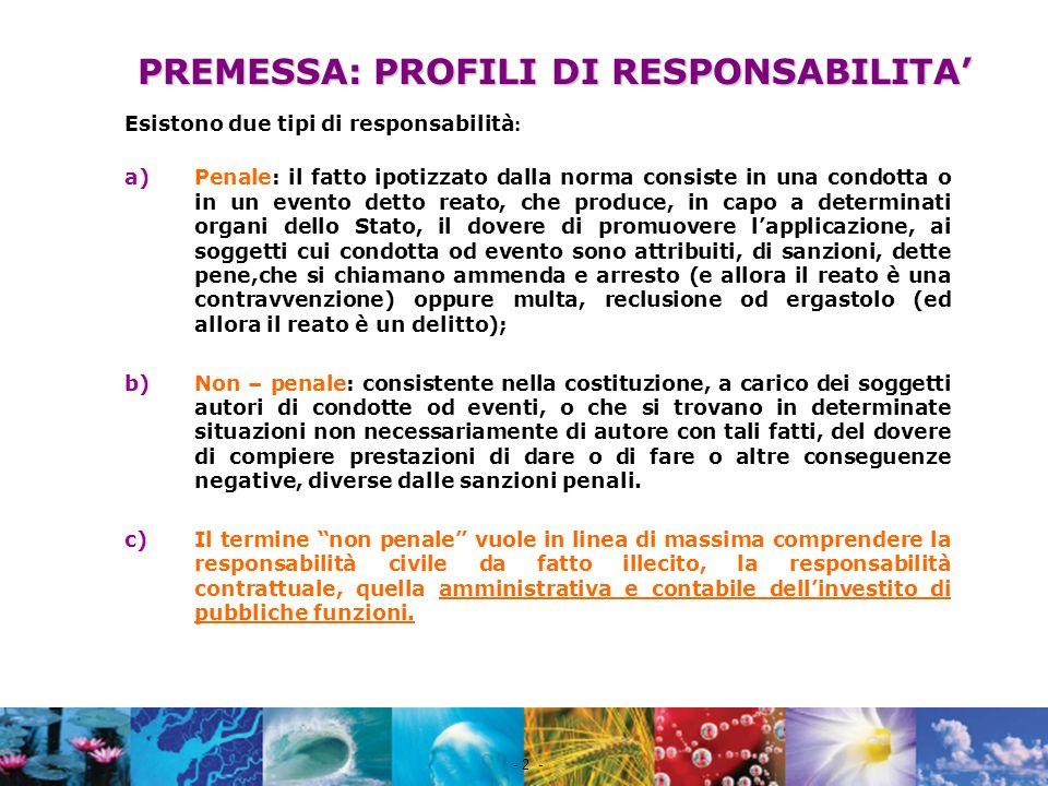 Nome file - 2 - PREMESSA: PROFILI DI RESPONSABILITA Esistono due tipi di responsabilità : a)Penale: il fatto ipotizzato dalla norma consiste in una co
