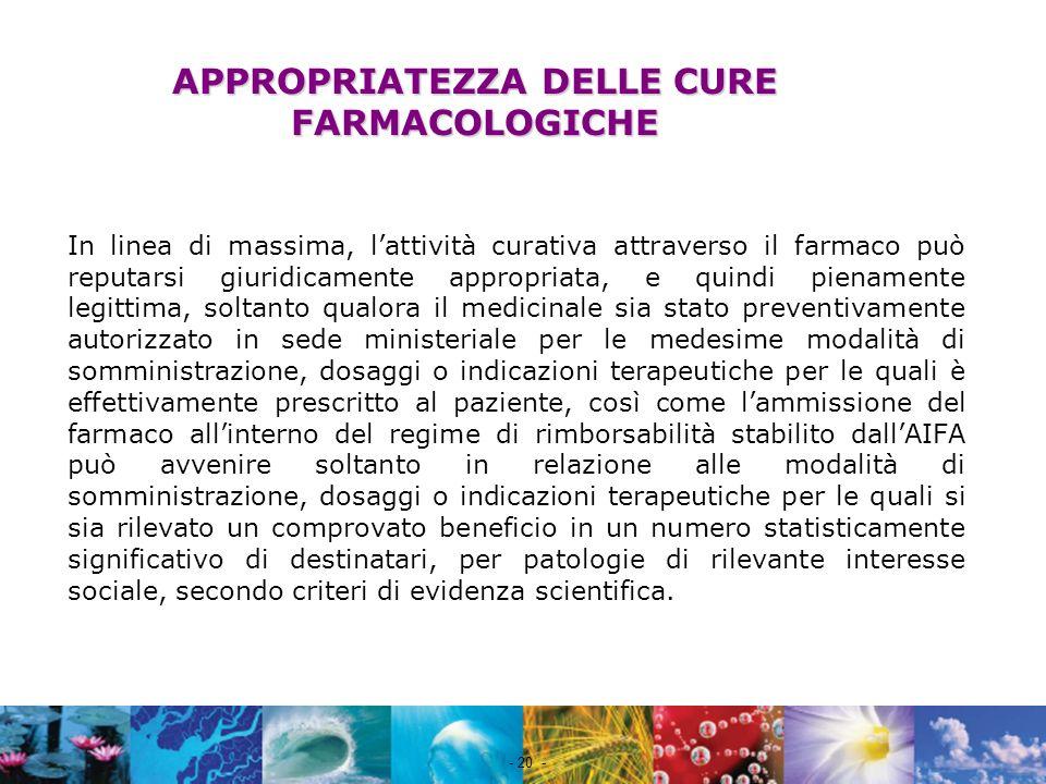 Nome file - 20 - APPROPRIATEZZA DELLE CURE FARMACOLOGICHE In linea di massima, lattività curativa attraverso il farmaco può reputarsi giuridicamente a