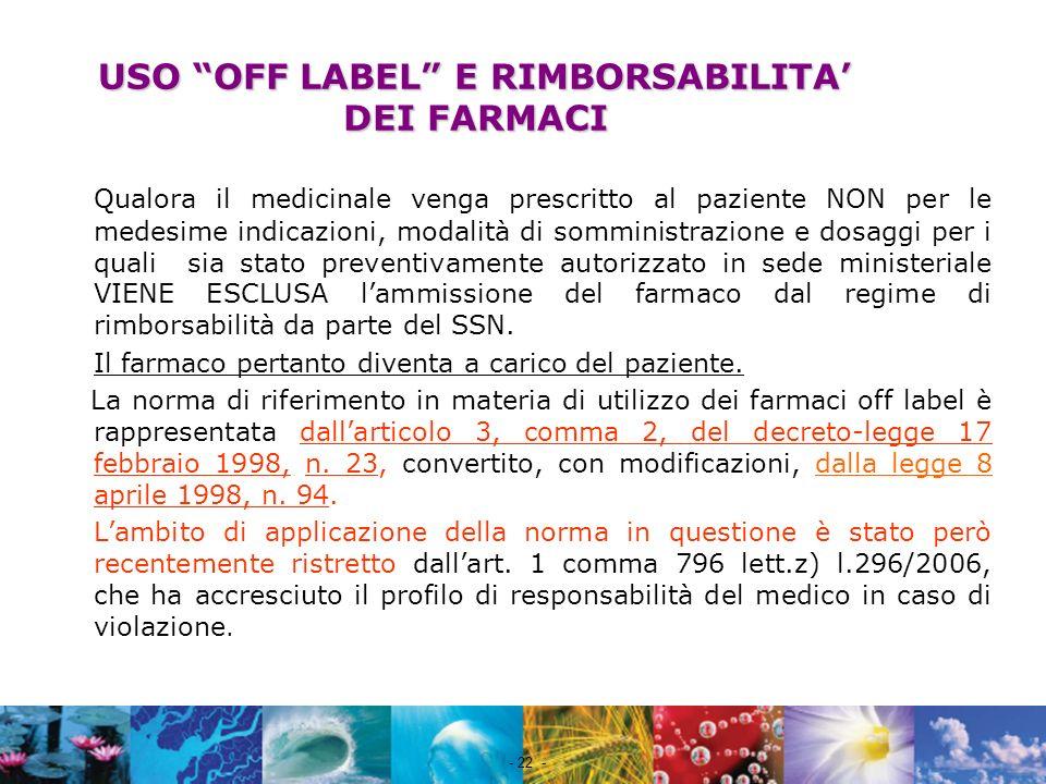 Nome file - 22 - USO OFF LABEL E RIMBORSABILITA DEI FARMACI Qualora il medicinale venga prescritto al paziente NON per le medesime indicazioni, modali