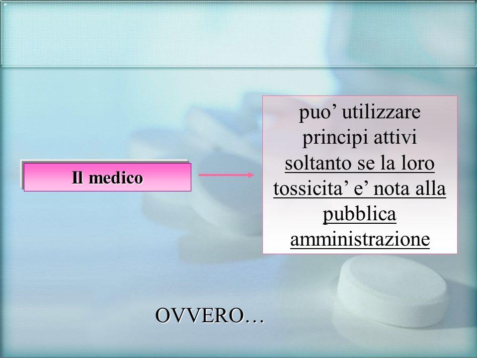 Il medico puo utilizzare principi attivi soltanto se la loro tossicita e nota alla pubblica amministrazione OVVERO…