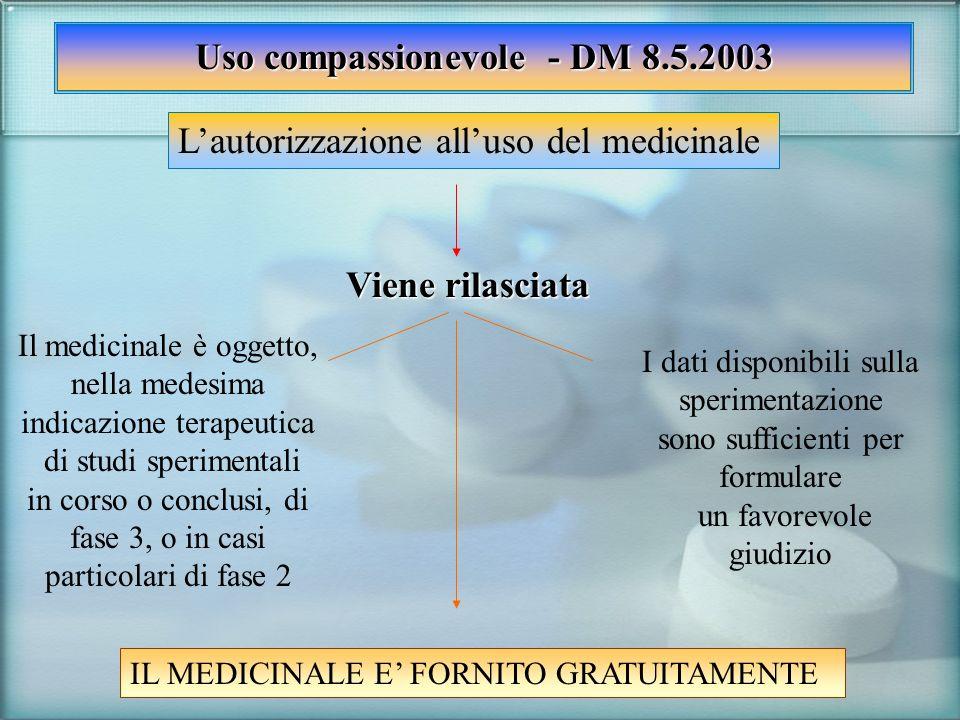 Uso compassionevole - DM 8.5.2003 Lautorizzazione alluso del medicinale Viene rilasciata Il medicinale è oggetto, nella medesima indicazione terapeuti