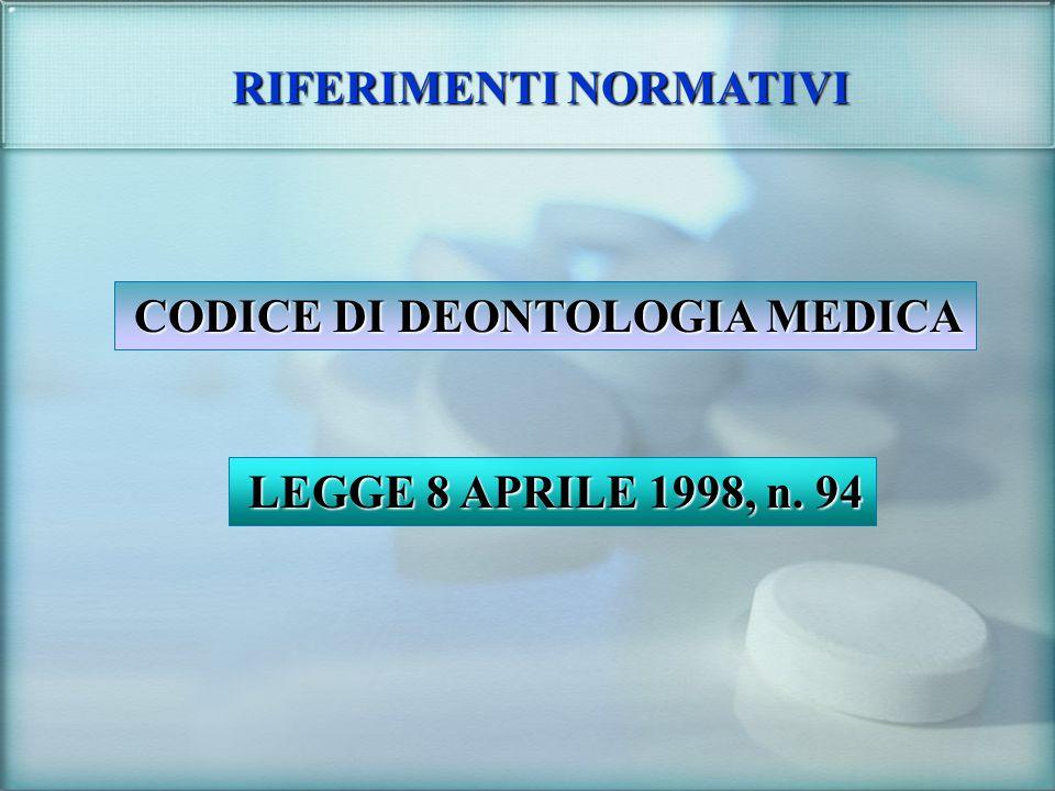 RIFERIMENTI NORMATIVI CODICE DI DEONTOLOGIA MEDICA LEGGE 8 APRILE 1998, n. 94