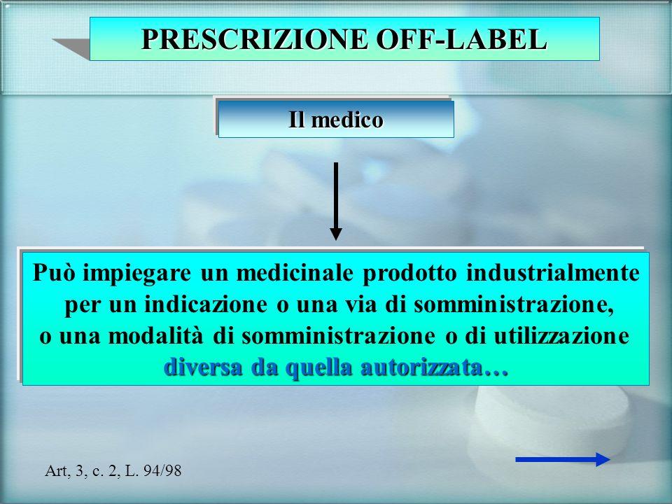 PRESCRIZIONE OFF-LABEL Il medico Può impiegare un medicinale prodotto industrialmente per un indicazione o una via di somministrazione, o una modalità