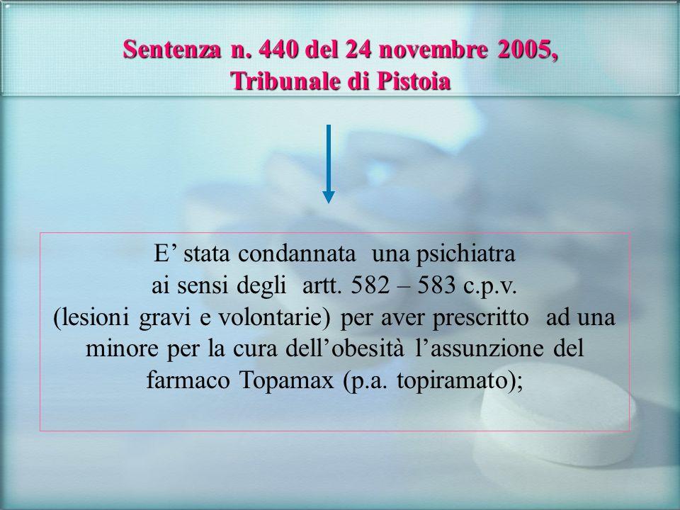 Sentenza n. 440 del 24 novembre 2005, Tribunale di Pistoia E stata condannata una psichiatra ai sensi degli artt. 582 – 583 c.p.v. (lesioni gravi e vo