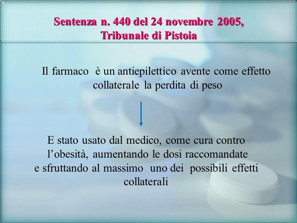 Sentenza n. 440 del 24 novembre 2005, Tribunale di Pistoia Il farmaco è un antiepilettico avente come effetto collaterale la perdita di peso E stato u
