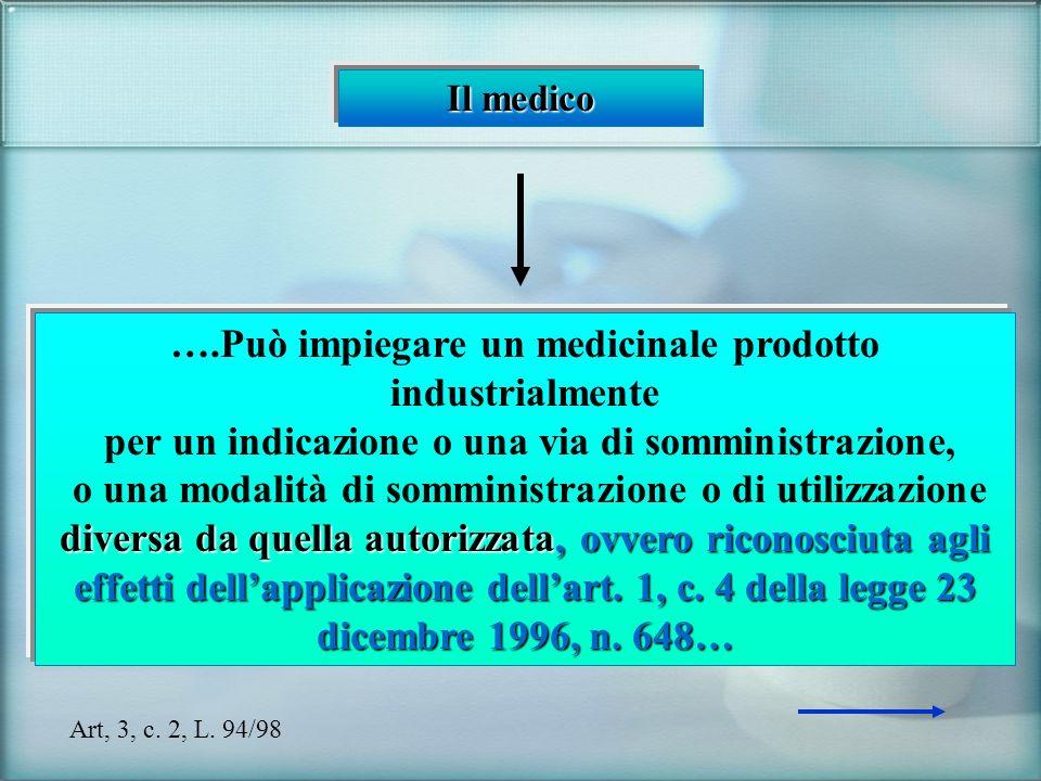 Il medico ….Può impiegare un medicinale prodotto industrialmente per un indicazione o una via di somministrazione, o una modalità di somministrazione