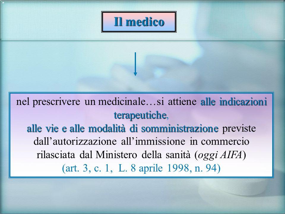 Il medico alle indicazioni terapeutiche nel prescrivere un medicinale…si attiene alle indicazioni terapeutiche, alle vie e alle modalità di somministr