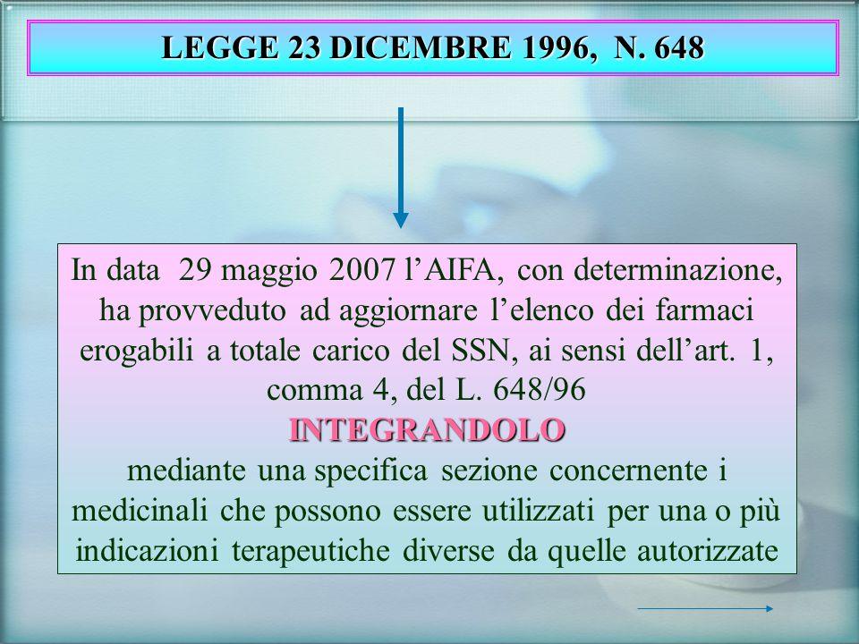 In data 29 maggio 2007 lAIFA, con determinazione, ha provveduto ad aggiornare lelenco dei farmaci erogabili a totale carico del SSN, ai sensi dellart.