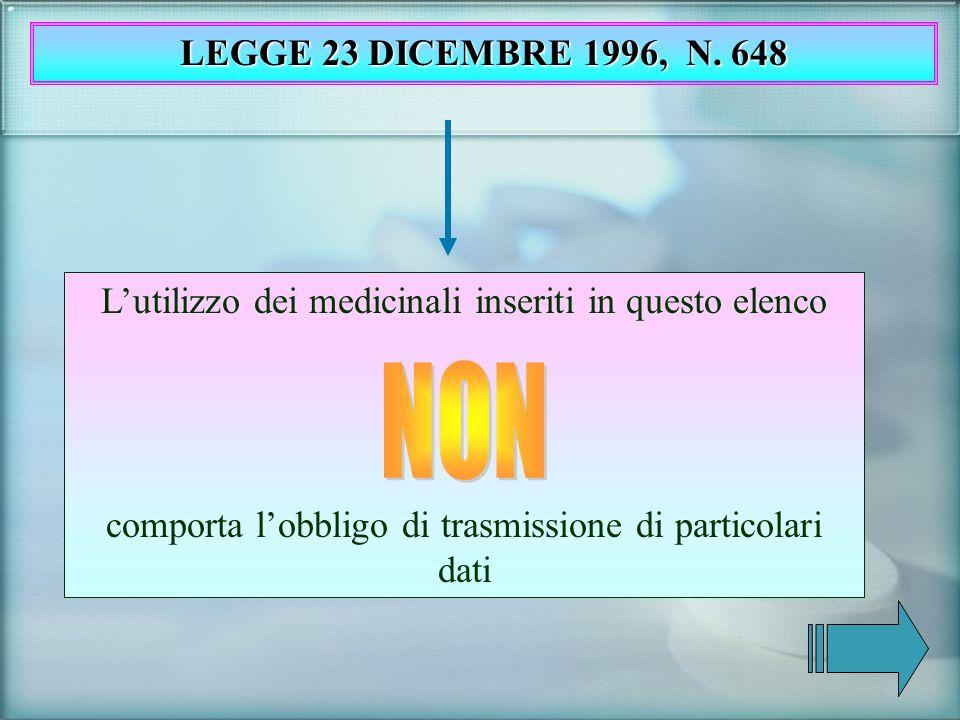 Lutilizzo dei medicinali inseriti in questo elenco comporta lobbligo di trasmissione di particolari dati LEGGE 23 DICEMBRE 1996, N. 648