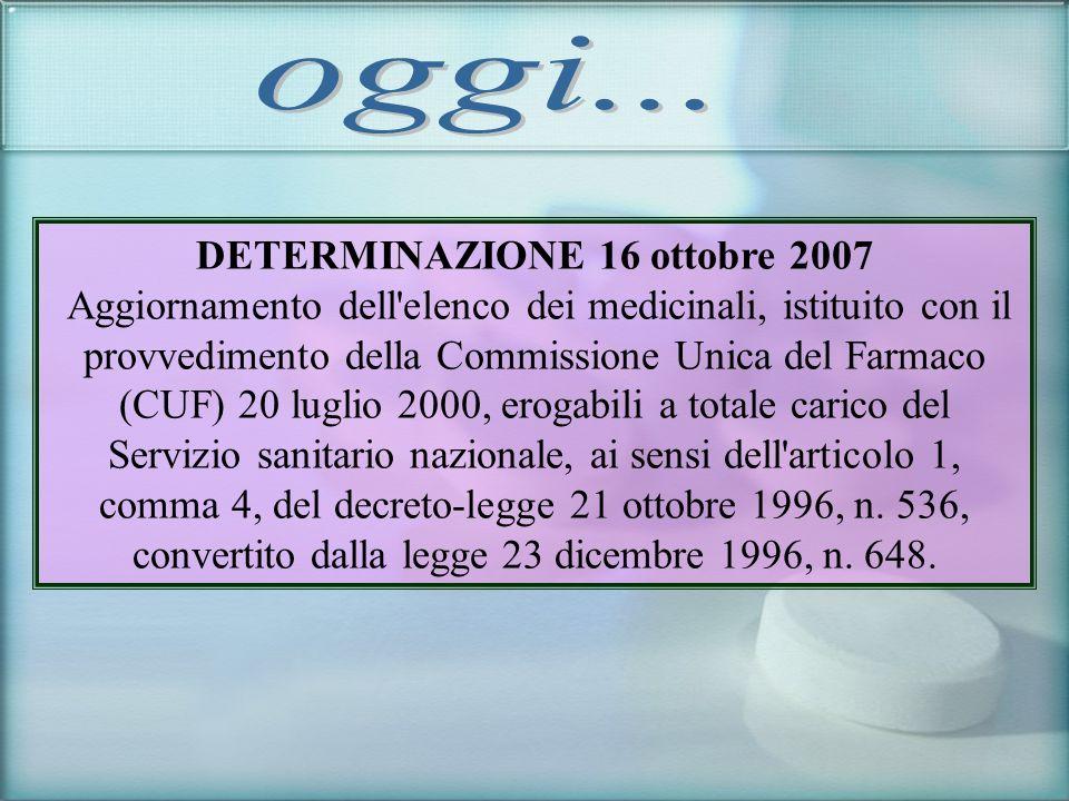 DETERMINAZIONE 16 ottobre 2007 Aggiornamento dell'elenco dei medicinali, istituito con il provvedimento della Commissione Unica del Farmaco (CUF) 20 l