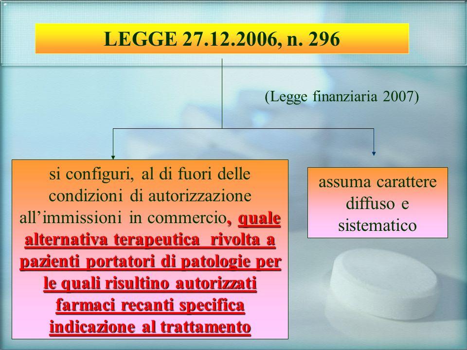 LEGGE 27.12.2006, n. 296 (Legge finanziaria 2007) assuma carattere diffuso e sistematico, quale alternativa terapeutica rivolta a pazienti portatori d