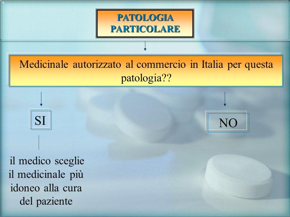 Medicinale autorizzato al commercio in Italia per questa patologia?? SI il medico sceglie il medicinale più idoneo alla cura del paziente NO PATOLOGIA