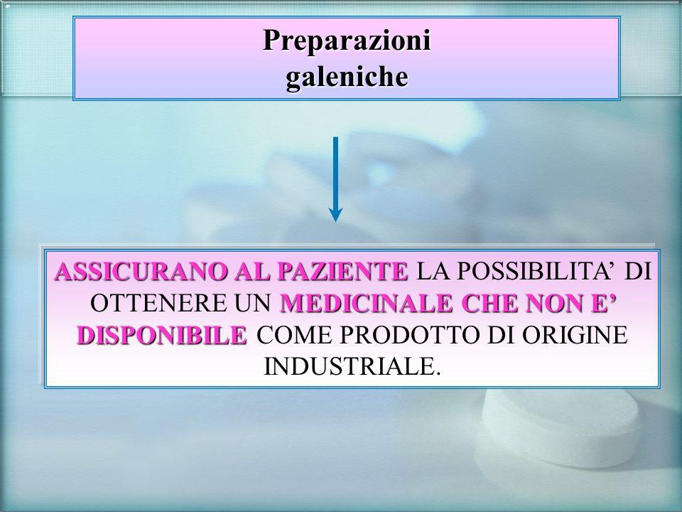 Preparato magistrale Preparato magistrale: medicinale preparato in farmacia in base ad una prescrizione medica destinata ad un determinato paziente (art.