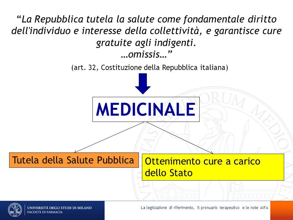 (art. 32, Costituzione della Repubblica italiana) MEDICINALE La Repubblica tutela la salute come fondamentale diritto dell'individuo e interesse della
