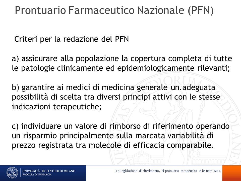 Prontuario Farmaceutico Nazionale (PFN) Criteri per la redazione del PFN a) assicurare alla popolazione la copertura completa di tutte le patologie cl