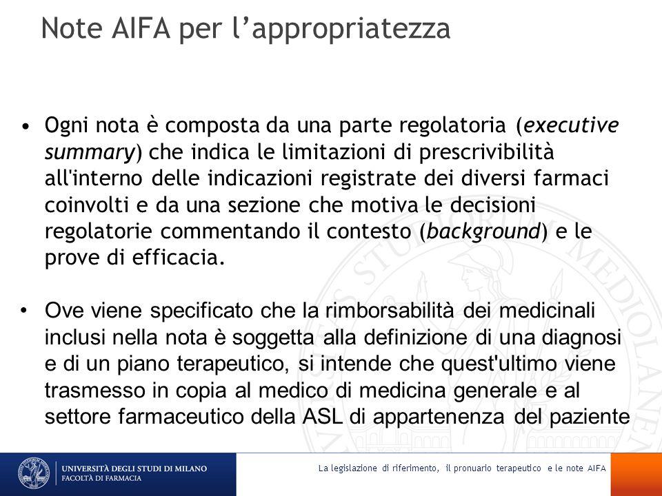 Note AIFA per lappropriatezza Ogni nota è composta da una parte regolatoria (executive summary) che indica le limitazioni di prescrivibilità all'inter