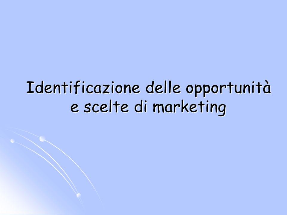 Identificazione delle opportunità e scelte di marketing