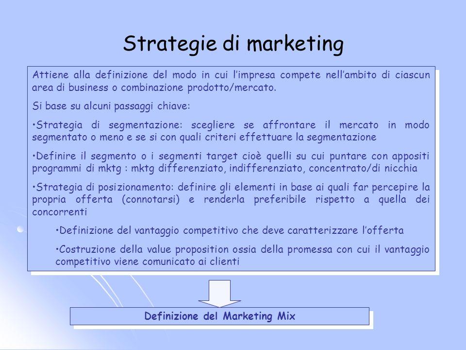 Strategie di marketing Attiene alla definizione del modo in cui limpresa compete nellambito di ciascun area di business o combinazione prodotto/mercat