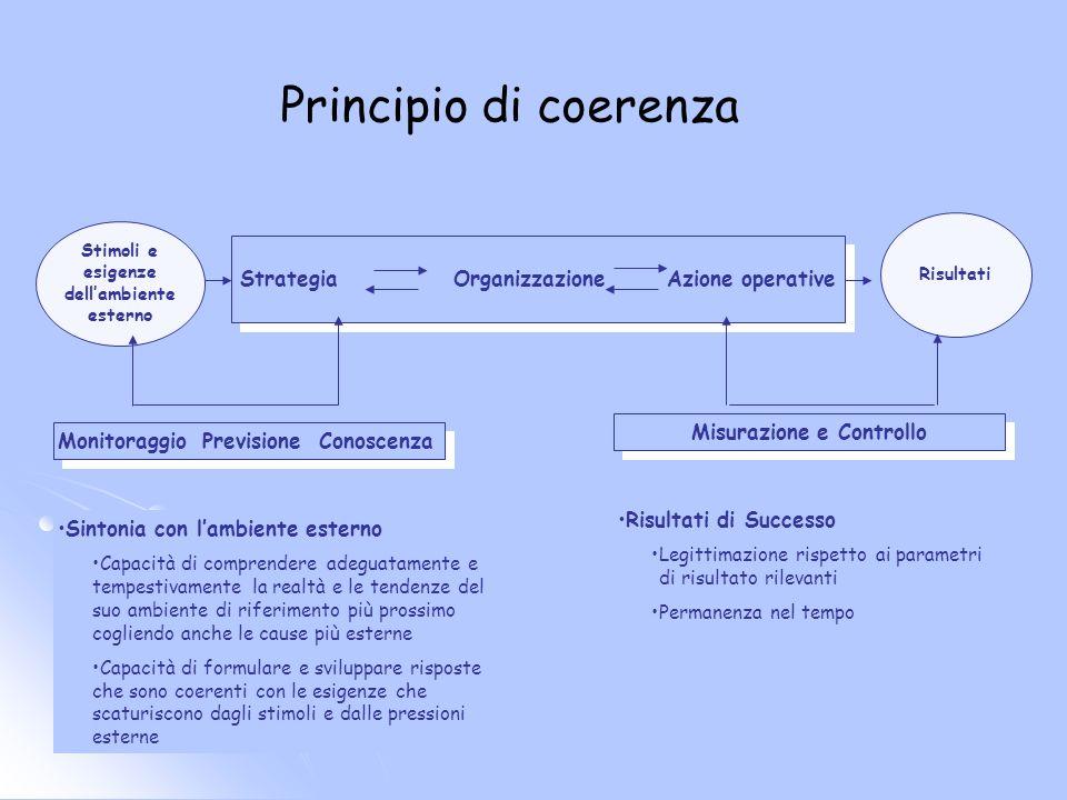Principio di coerenza StrategiaOrganizzazioneAzione operative Monitoraggio Previsione Conoscenza Stimoli e esigenze dellambiente esterno Risultati Mis