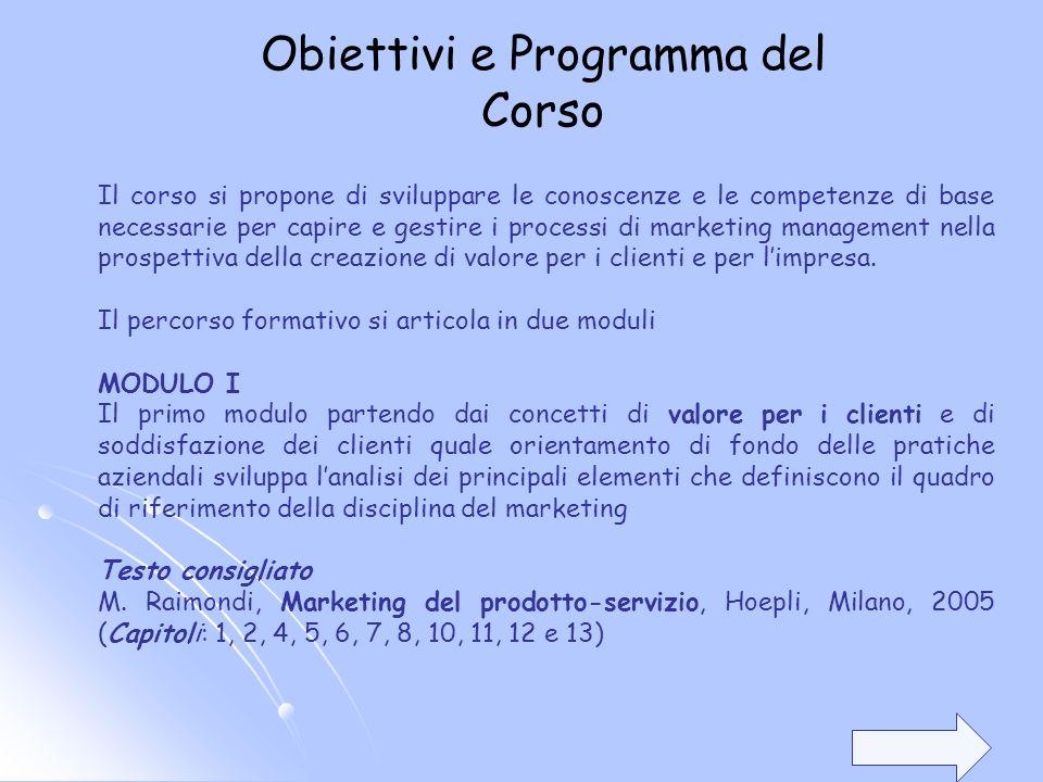 Il corso si propone di sviluppare le conoscenze e le competenze di base necessarie per capire e gestire i processi di marketing management nella prosp