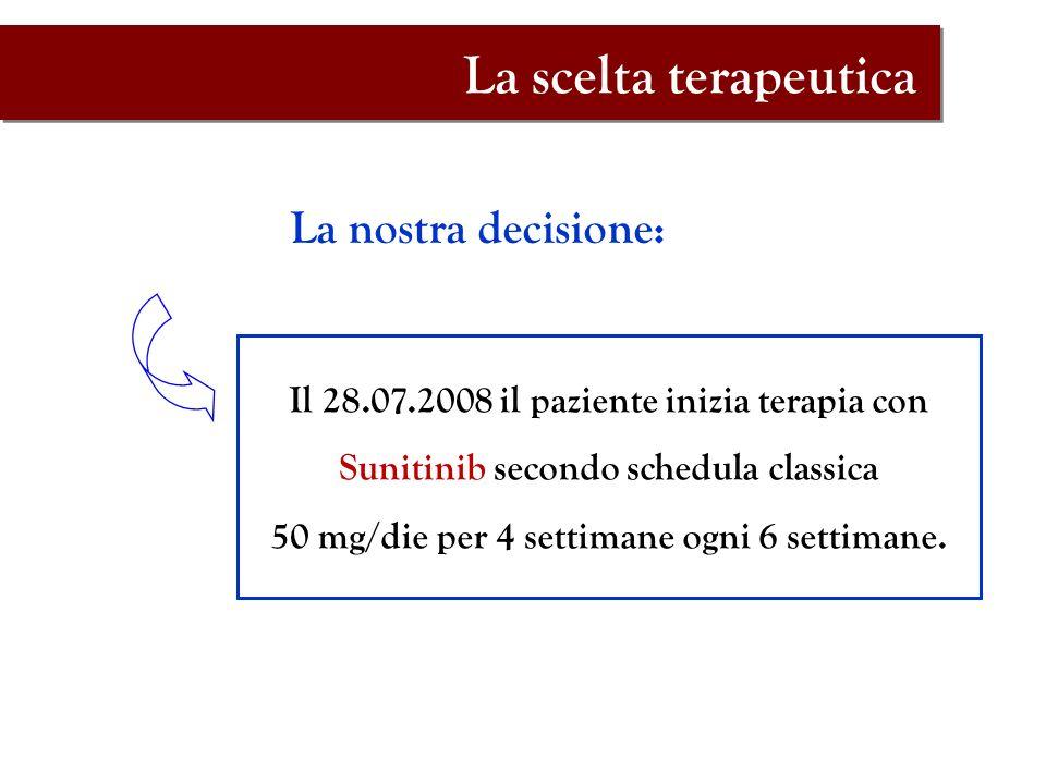 La nostra decisione: Il 28.07.2008 il paziente inizia terapia con Sunitinib secondo schedula classica 50 mg/die per 4 settimane ogni 6 settimane. La s