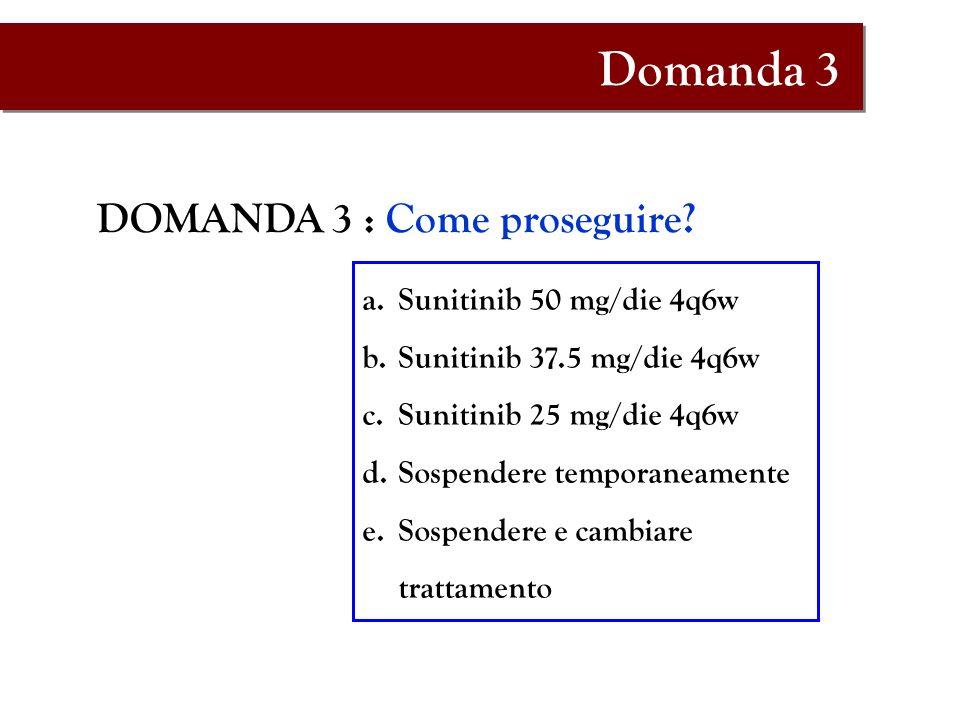 DOMANDA 3 : Come proseguire? a.Sunitinib 50 mg/die 4q6w b.Sunitinib 37.5 mg/die 4q6w c.Sunitinib 25 mg/die 4q6w d.Sospendere temporaneamente e.Sospend