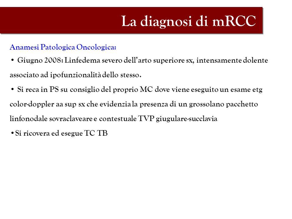 Anamesi Patologica Oncologica: Giugno 2008: Linfedema severo dellarto superiore sx, intensamente dolente associato ad ipofunzionalità dello stesso. Si