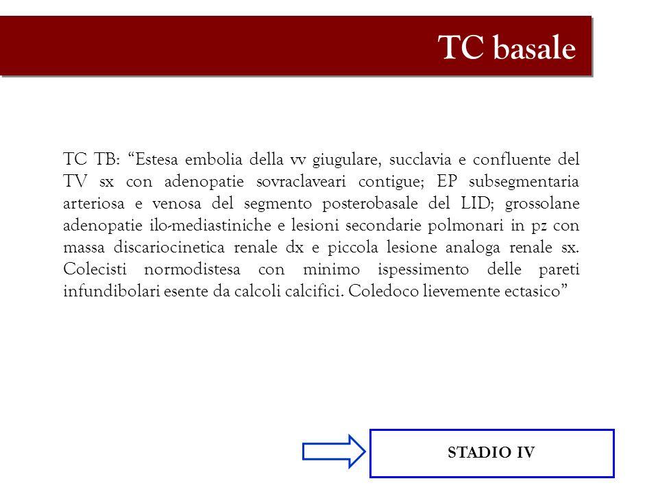 TC basale TC TB: Estesa embolia della vv giugulare, succlavia e confluente del TV sx con adenopatie sovraclaveari contigue; EP subsegmentaria arterios