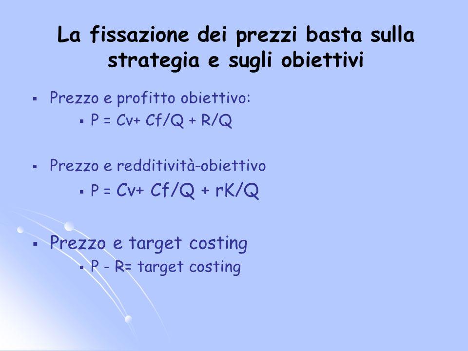 La fissazione dei prezzi basta sulla strategia e sugli obiettivi Prezzo e profitto obiettivo: P = Cv+ Cf/Q + R/Q Prezzo e redditività-obiettivo P = Cv+ Cf/Q + rK/Q Prezzo e target costing P - R= target costing