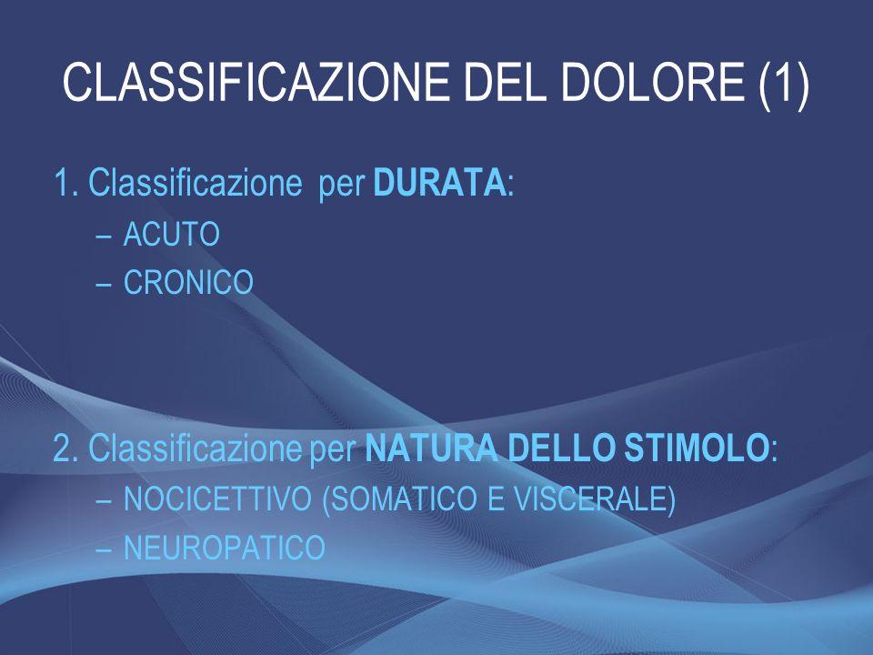 CLASSIFICAZIONE DEL DOLORE (1) 1. Classificazione per DURATA : –ACUTO –CRONICO 2. Classificazione per NATURA DELLO STIMOLO : –NOCICETTIVO (SOMATICO E