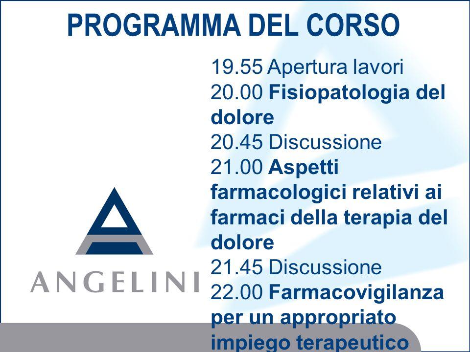 PROGRAMMA DEL CORSO 19.55 Apertura lavori 20.00 Fisiopatologia del dolore 20.45 Discussione 21.00 Aspetti farmacologici relativi ai farmaci della tera