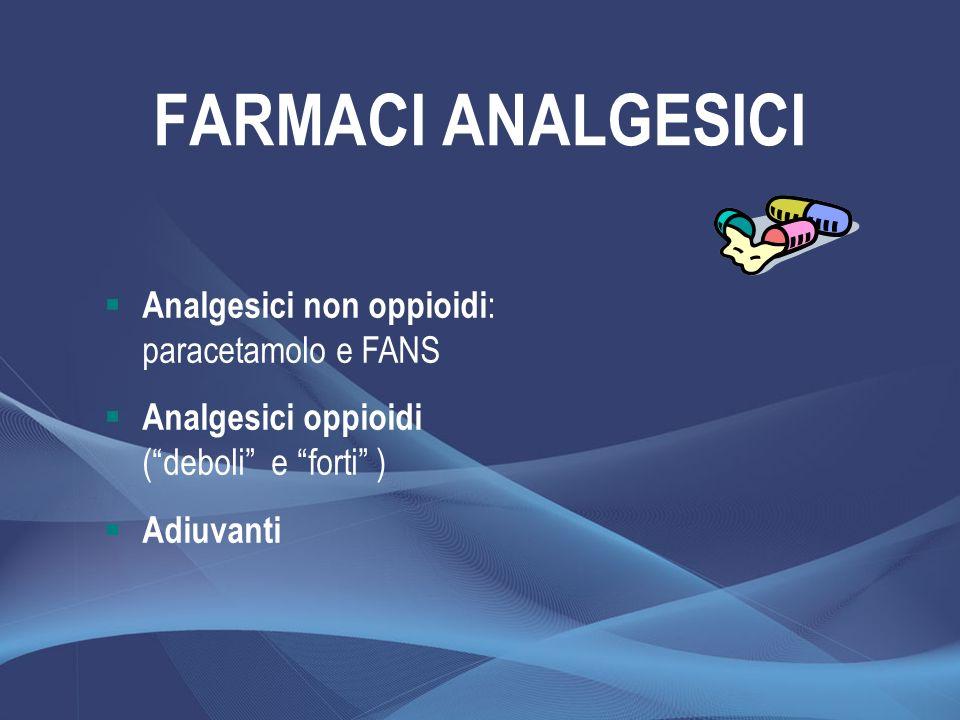 FARMACI ANALGESICI Analgesici non oppioidi : paracetamolo e FANS Analgesici oppioidi (deboli e forti ) Adiuvanti