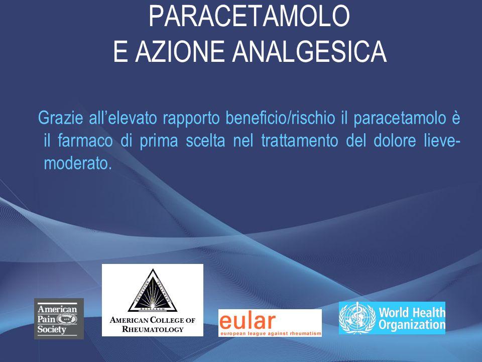 PARACETAMOLO E AZIONE ANALGESICA Grazie allelevato rapporto beneficio/rischio il paracetamolo è il farmaco di prima scelta nel trattamento del dolore