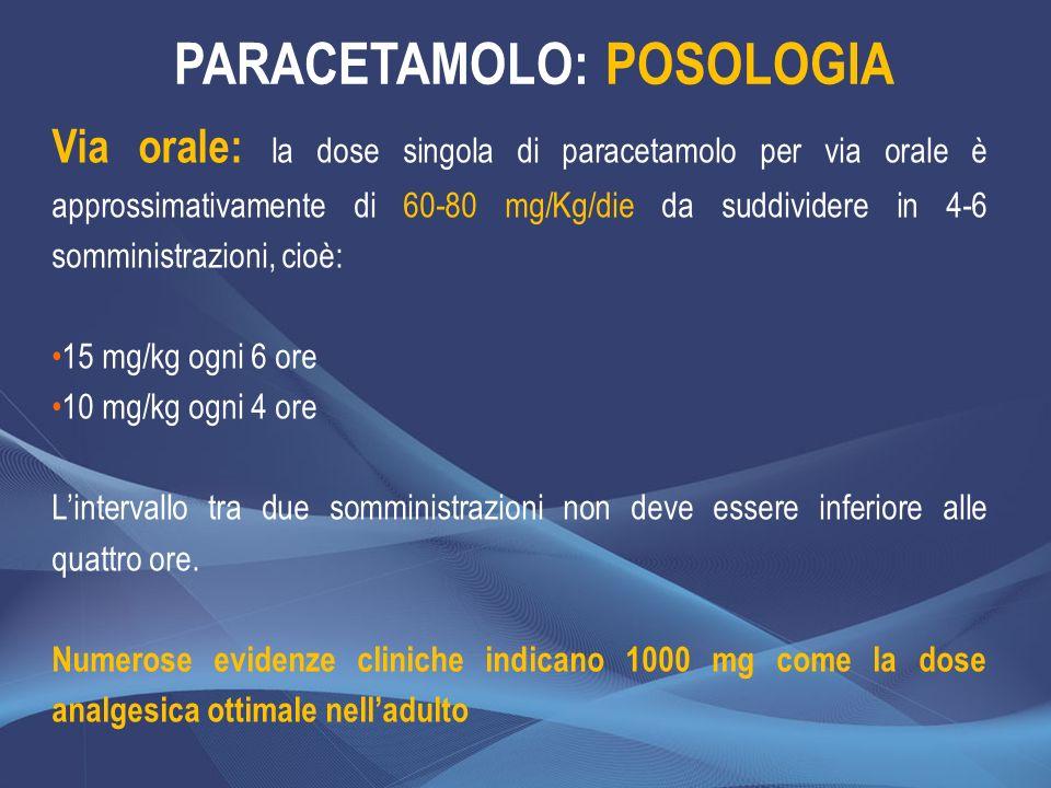 Via orale: la dose singola di paracetamolo per via orale è approssimativamente di 60-80 mg/Kg/die da suddividere in 4-6 somministrazioni, cioè: 15 mg/