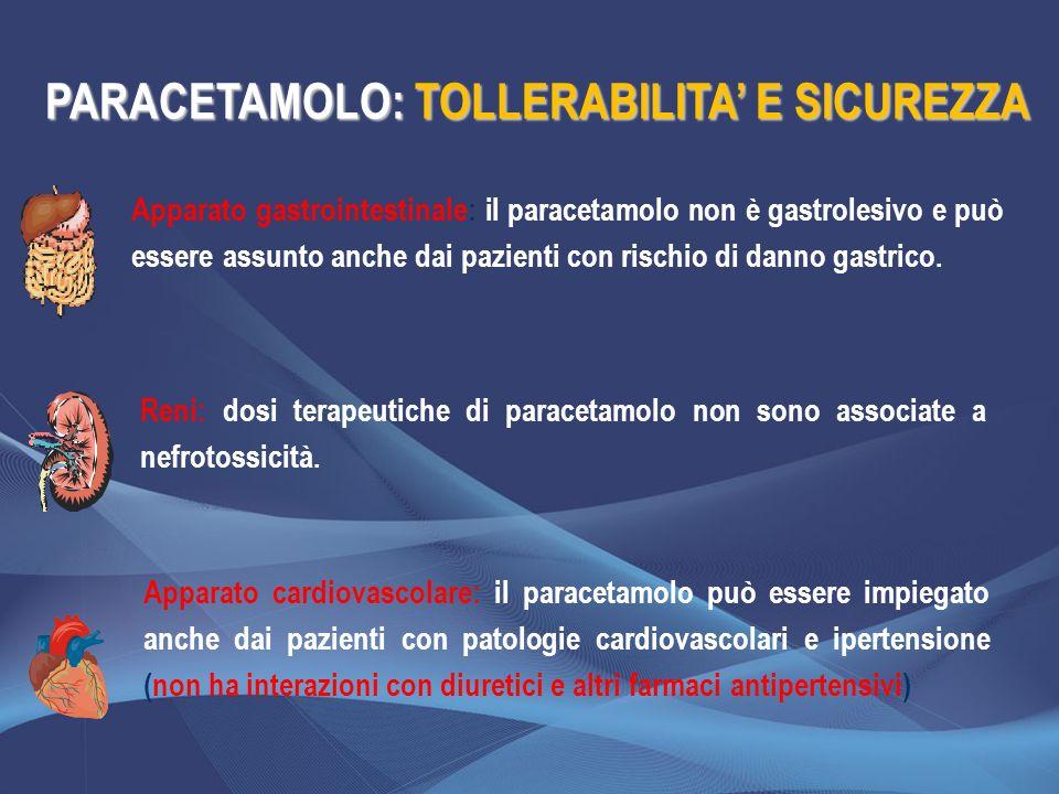 Apparato gastrointestinale: il paracetamolo non è gastrolesivo e può essere assunto anche dai pazienti con rischio di danno gastrico. Reni: dosi terap