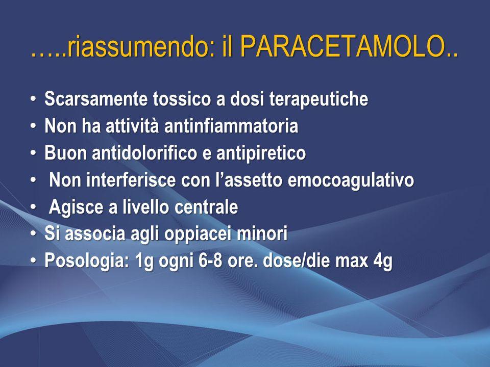 …..riassumendo: il PARACETAMOLO.. Scarsamente tossico a dosi terapeutiche Scarsamente tossico a dosi terapeutiche Non ha attività antinfiammatoria Non