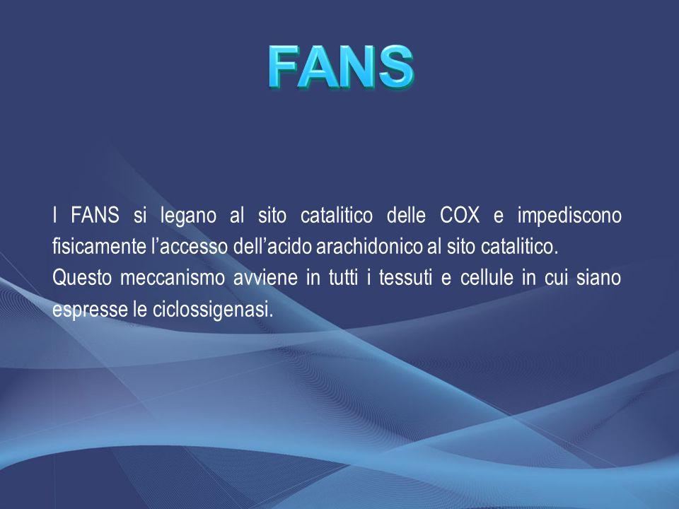 I FANS si legano al sito catalitico delle COX e impediscono fisicamente laccesso dellacido arachidonico al sito catalitico. Questo meccanismo avviene