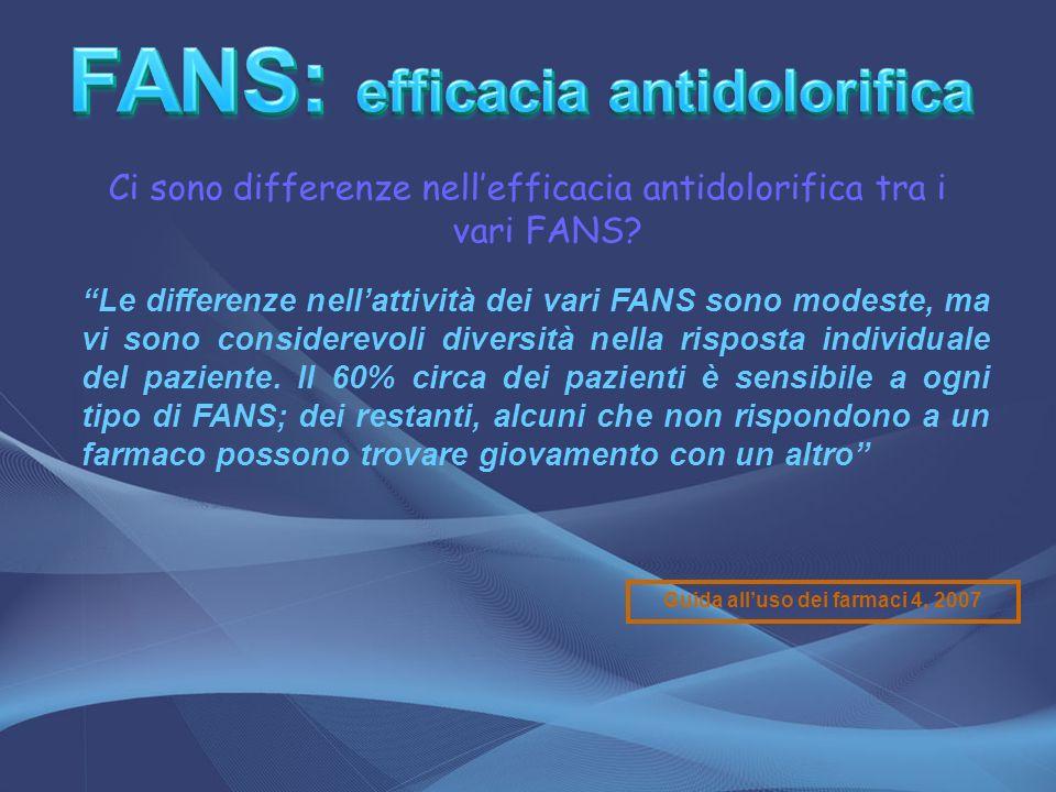 Ci sono differenze nellefficacia antidolorifica tra i vari FANS? Le differenze nellattività dei vari FANS sono modeste, ma vi sono considerevoli diver