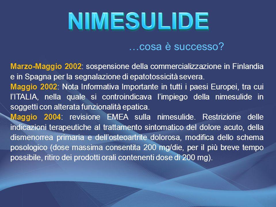 …cosa è successo? Marzo-Maggio 2002: sospensione della commercializzazione in Finlandia e in Spagna per la segnalazione di epatotossicità severa. Magg