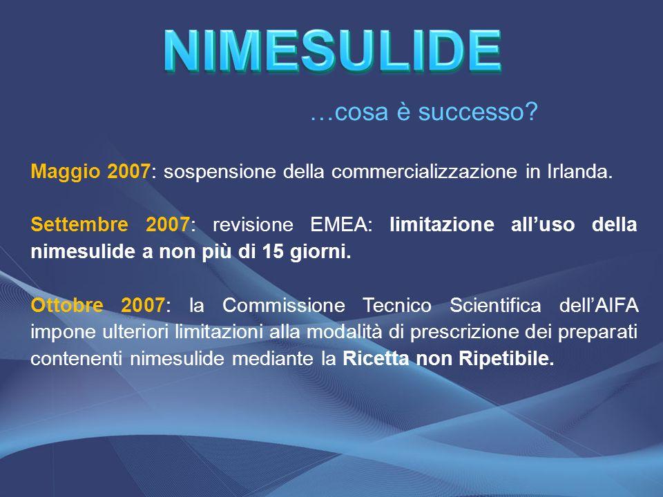 Maggio 2007: sospensione della commercializzazione in Irlanda. Settembre 2007: revisione EMEA: limitazione alluso della nimesulide a non più di 15 gio