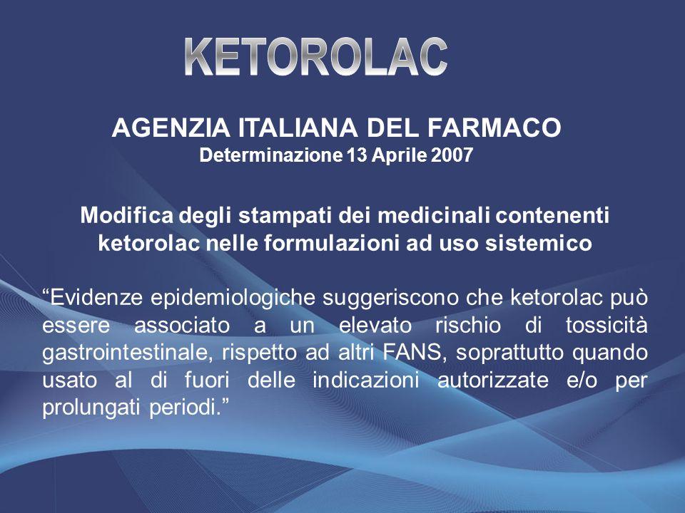 AGENZIA ITALIANA DEL FARMACO Determinazione 13 Aprile 2007 Modifica degli stampati dei medicinali contenenti ketorolac nelle formulazioni ad uso siste