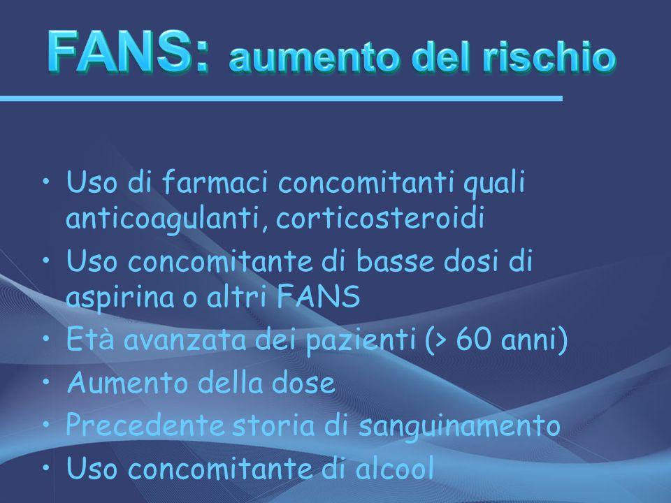 Uso di farmaci concomitanti quali anticoagulanti, corticosteroidi Uso concomitante di basse dosi di aspirina o altri FANS Et à avanzata dei pazienti (