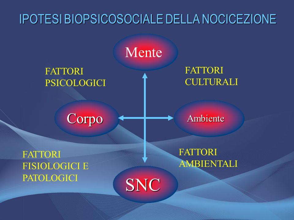 Mente SNCSNC CorpoCorpoAmbienteAmbiente FATTORI PSICOLOGICI FATTORI FISIOLOGICI E PATOLOGICI FATTORI AMBIENTALI FATTORI CULTURALI IPOTESI BIOPSICOSOCI