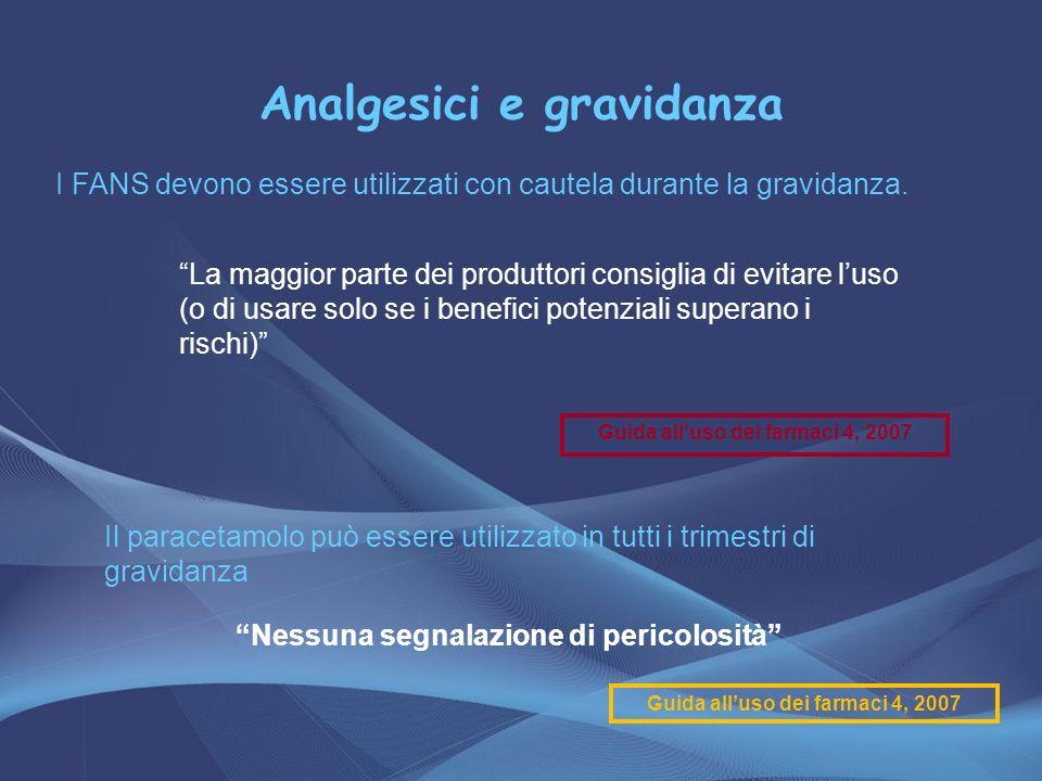 Analgesici e gravidanza I FANS devono essere utilizzati con cautela durante la gravidanza. La maggior parte dei produttori consiglia di evitare luso (