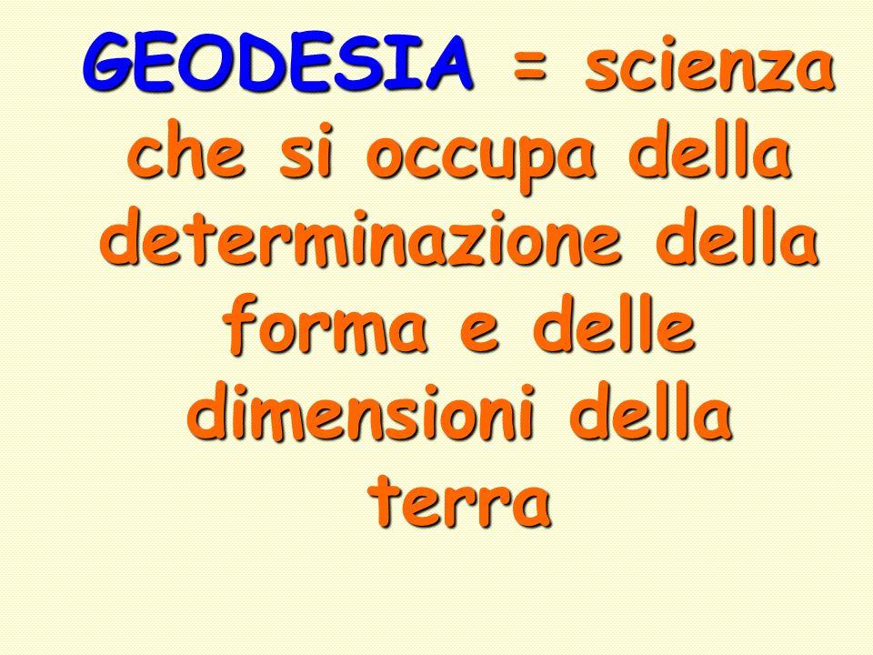 GEODESIA = scienza che si occupa della determinazione della forma e delle dimensioni della terra