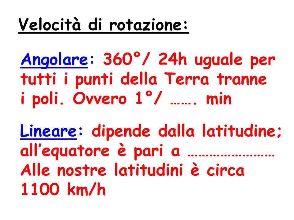 Velocità di rotazione: Angolare: 360°/ 24h uguale per tutti i punti della Terra tranne i poli.