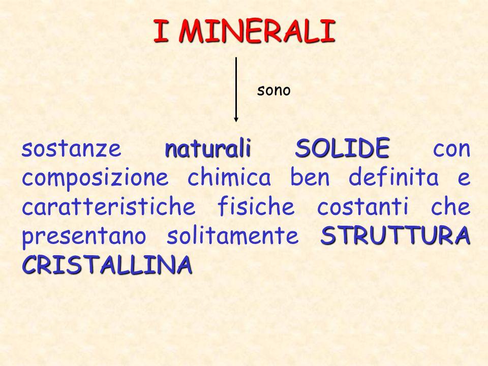 LA CLASSIFICAZIONE DEI MINERALI Attualmente si conoscono più di 3000 tipi di minerali SILICATI SILICATI ( 80%) a base di Silicio e Ossigeno NON SILICATI privi di Silicio distinti in