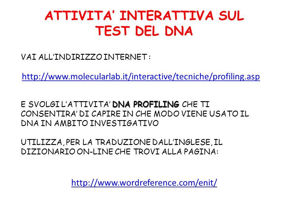 ATTIVITA INTERATTIVA SUL TEST DEL DNA VAI ALLINDIRIZZO INTERNET : http://www.molecularlab.it/interactive/tecniche/profiling.asp DNA PROFILING E SVOLGI